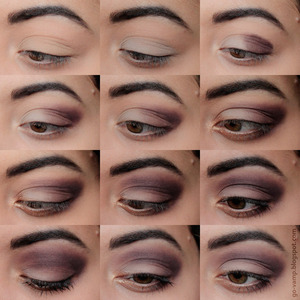 1+2. Apply a light grey eyeshadow to your whole eyelid.