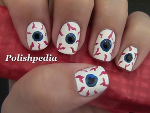 Bloodshot Eyes Creep Me Out!  Watch The Video Tutorial @ http://polishpedia.com/bloodshot-eyes-nail-art-for-halloween.html