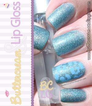 Blue holographic manicure with leopard print on the accent finger for Autism Awareness Month. http://www.buttercreamandlipgloss.com/2013/04/notw-blue-for-autism-milani-cyberspace.html