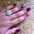 Almond nails, glitter, purple