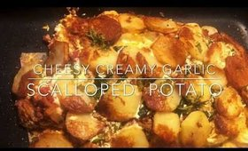 cheessy creamy garlic scalloped potato