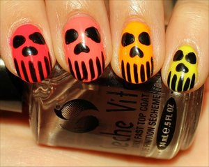 See more swatches, see swatches without the skulls & see the skull nail tutorial here: http://www.swatchandlearn.com/nail-art-neon-skull-nails/