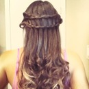 Double waterfall braid and loose curls:)