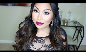 Neutral Glam Eyes + Plum Lip Makeup Tutorial