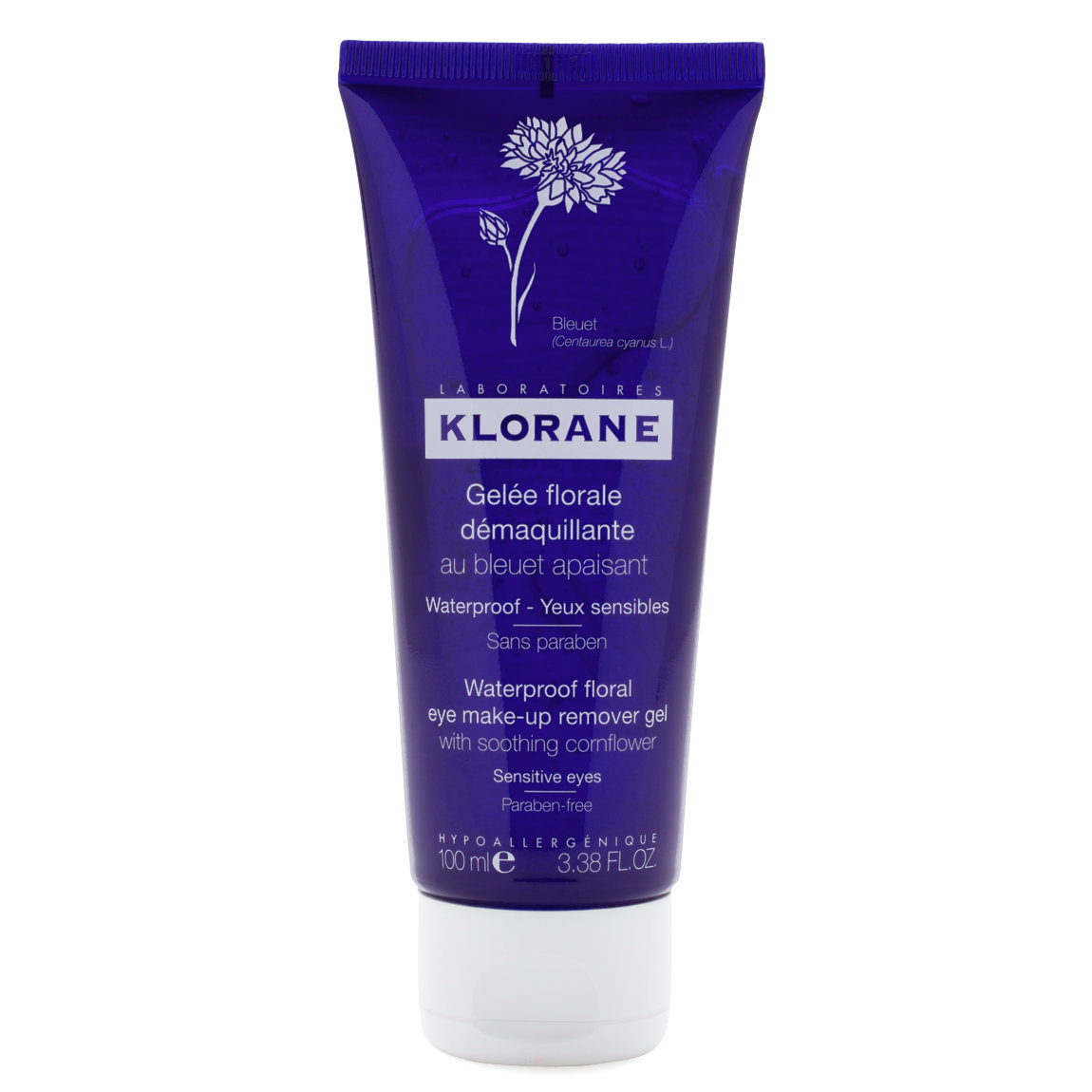 Klorane Waterproof Floral Eye Make-Up Remover Gel with Soothing Cornflower product smear.