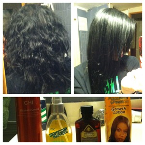 1- I wash my hair and apply the Profectiv Growth lotion (Walmart) and let it dry. I wait til the day after my hair has been washed to straighten it. 2- I section my hair horizontally in half-inch sections and spray it a couple times with the FX moroccan oil (CVS, Walmart, ULTA) and straighten each section in 1inch increments. 3- Once my hair is done, I spray it down with the CHI hairspray (professional supply stores) 4- In the days after, I'll apply the One N Only Argan oil (ULTA, Sally's) just to keep it shiny and because this product smells amazing.