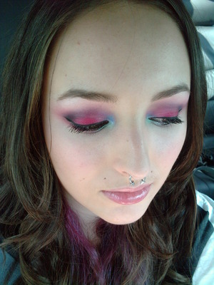 Smokey colorful look using a bunch of different brands.