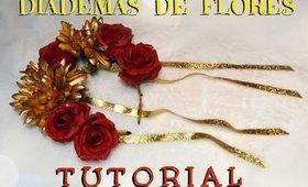 TUTORIAL -  🌺Diademas de Flores / 🌼 Flower Diadem Corona DIY   auroramakeup