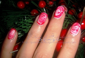 Peppermint Candy Inspired Swirl Nails
