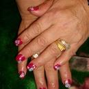Red Acrylic nails w/ 3d nail art