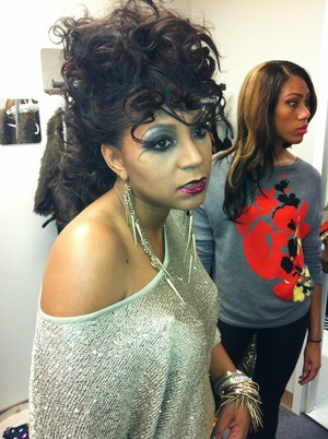 Shooting Trina Braxton's CD cover! And yes, she's wearing Glitzy Lips!