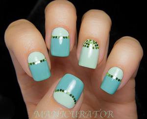 Loose glitter half moon mani with China Glaze Re-fresh Mint and For Audrey.
