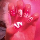 Red and White Nail Design