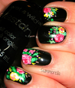 Inspired by Chelsea's Get Nailed Doc Marten inspired nails:  Wet N Wild Ebony Hates Chris and acrylic paint http://summerella31.blogspot.com/2013/02/floral-print.html