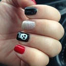 skull nail design beetlejuice red black glitter