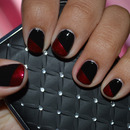 Simple, Edgy Black & Red Nails
