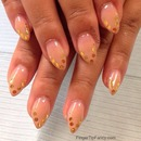 Natural Nude With Gold Outline Tips