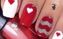 Chevron Heart Nails by The Crafty Ninja