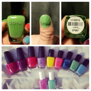 "Zoya "" Josie "" Zp667  I really like it ! pretty summer color !<3 sorry for the mess :p"