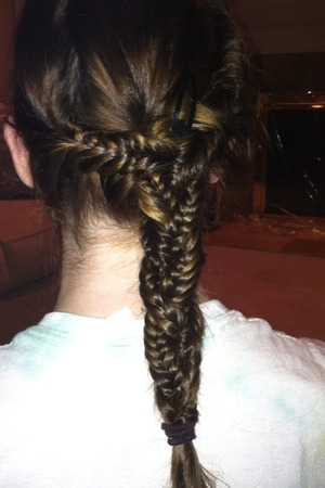 3 fishtail braids, braided into one
