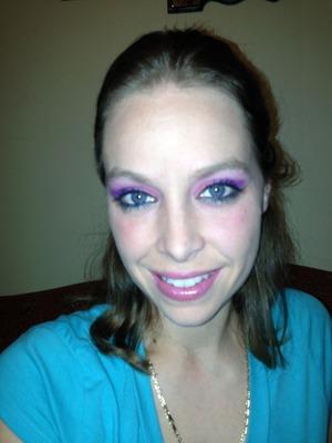 Purple/pink look using NYX shadow base and Shany eyeshadow colors