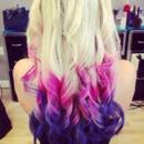white blonde, pink, purple, curls