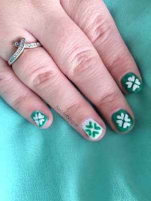 Hi everyone and Happy St Patrick's Day! Today I have a shamrock look. Hope you like the video and may the luck of the Irish be with you!!!  Products used... - Revlon Quick Dry Base Coat 955 - L.A. Colors Color Craze Green - Kleancolor White - eBay Brush - Revlon Colorstay Top Coat 999  Music - Moorland Provided by Kevin MacLeod from incompetech.com  Follow me on... Twitter: https://twitter.com/NailArtVogue Facebook: https://www.facebook.com/NailArtVogue  Any questions or comments post them below, or give me a tweet or write on my Facebook wall.  I am not affiliated or have endorsements with any of the brands mentioned in my video.