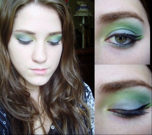 Turquoise and Green Eyeshadow... tutorial on my page or youtube
