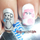 Pink Poodles and Puppies Outline Nail Art
