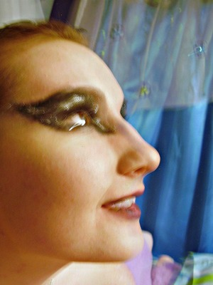 This is a Black Swan inspired look done by my niece Kayt, and that's me as her model :)