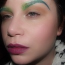 Green Ombre Brows & Purple Lips