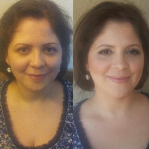 Before and after wedding makeup look by me.