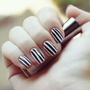Black & White Striped Nails