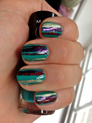 For this manicure I used: Maybelline Color Show - Urban Utopia (base color) Essie - No Place Like Chrome Zoya - Mimi Zoya - Blaze