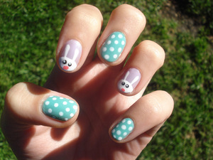 Easter themed. I looooved everything about this manicure! The bunnies and colours <3 omg!