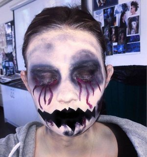 This was my first attempt at creating a character with makeup. The character was inspired by a nightmare I had had at the time about a monster as odd as that sounds