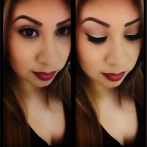 Neutral on the eyes n topped it with rich red lips!!