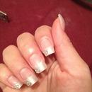 Pearl white tips w/ rhinestones
