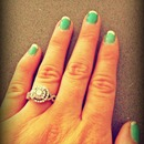 mint and gold French manicure