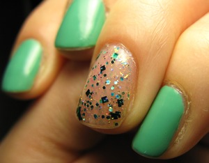 Teal polish & glitters by Essence, Merry Xmas everyone!!! <3