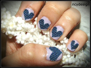 Just some fun creation using fabrics  Revlon colorstay longwear nail polish in Provence Jeans material Acrylic Nails glue