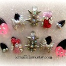 Party Time Stiletto Spiked Nails with hearts!