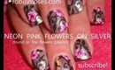 Chrome Silver Nails with NEON pink matte flowers robin moses nail art design tutorial 571 KONY 2012