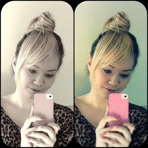Fake side-swept bangs & a top knot :) Though it looks a bit silly in my ombre hair...