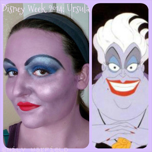 Another look in my Disney Week series. I decided to do a literal version of Ursula from The Little Mermaid. Unfortunately I didn't have any products to whiten my hair temporarily, so that part isn't very accurate. I don't actually own red lipstick, so I used orange lip liner with fuschia lipstick on top.