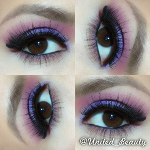 I add a pink eyeshadow in tge crease and add a color tattoo in purple on my lid as a base for my purple eyeshadow then blend together