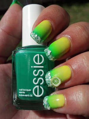 Margarita Nails. Got this idea from the I Feel Polished blog and had to try it out for myself.