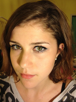 Winged eyeliner with silver on the bottom