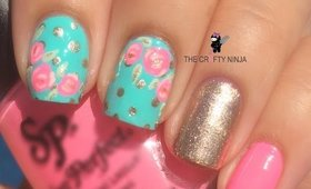 Pretty Rose Nail Art Tutorial by The Crafty Ninja