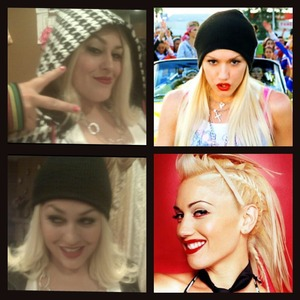 I seen the resemblance to Gwen Stefani on her face and tried to recreate it and make her look like her.This was fun :) The 2 left side pic's are B and the 2 right side is the actual Gwen pic's we went off of for the look.
